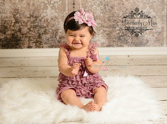 New Vintage style Dusty Rose Petti Romper, rompers, baby girls Rompers, wedding flower girls, Baby outfit, toddler outfit, birthday outfit on Wanelo