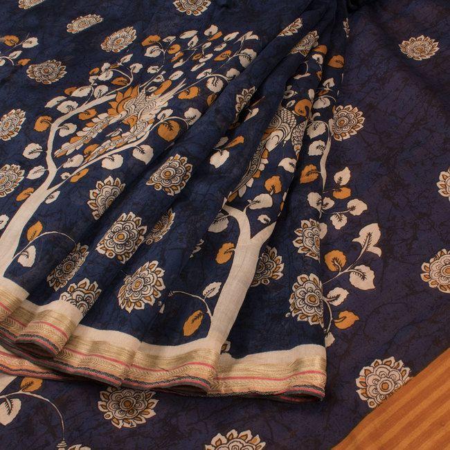 Hand Painted Pen Kalamkari Chanderi Silk Cotton Saree With Floral & Peacock Motifs 10020313 - AVISHYA.COM