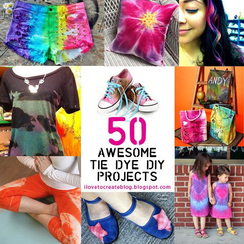 50 Awesome Tie Dye Projects (from iLoveToCreate Blog)