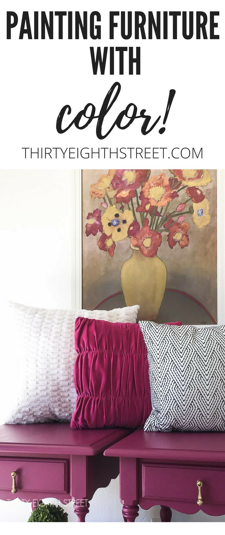 Give Your Furniture Color with Paint! Plum Painted Nightstands from Dixie Belle Paint. | Thirty Eighth Street