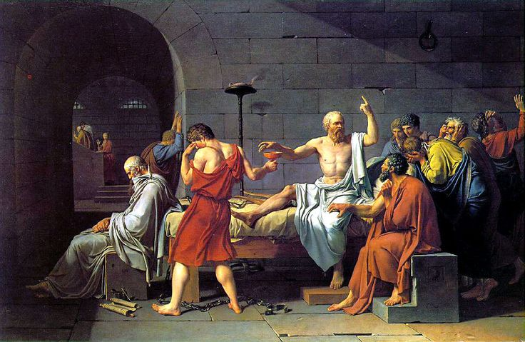 jacques louis davids portrayal of the death of socrates The painting describes the last moments of socrates (jacques-louis david) the philosopher is seated upright on a bed in the middle of the painting, surrounded by his companions his left hand points in an upward direction, which is an indication of the ancient greek belief in the transmigration of souls.