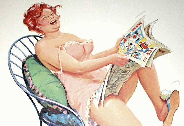 Hilda inside --- Sunday morning paper -- Hilda's cracking up -- reading the funnies.  Simple pleasures.  // Hilda by Duane Bryers