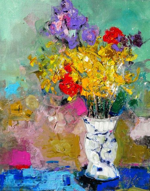 """Daily Painters Abstract Gallery: Floral Abstract Painting 'Verdant"""" by Elizabeth Chapman"""