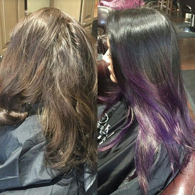 This was a double process! What does that mean?? Audi hand painted and prelightened her ends, while applying the dark on the roots melting down to the #balayaged ends . Processed the full time, washed and dryed. Then #handpainted Pravanna purple over the pre lightened ends and that was the finishing touch.  #Padgram
