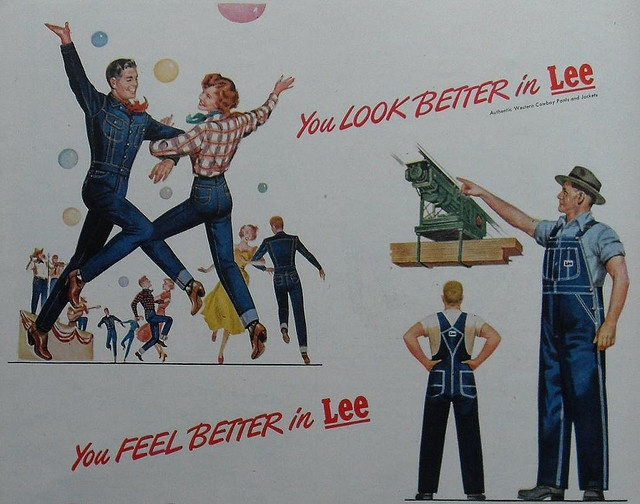 """1940s and '50s Lee Dungarees and Workwear ads cast their illustrator's brush across many markets with very broad strokes. They spoke to the blue collar worker and the """"at play"""" leisure seeker at the same time.    More images and items from my collectio Wow this is great!     Please SHARE/LIKE /REPIN!"""
