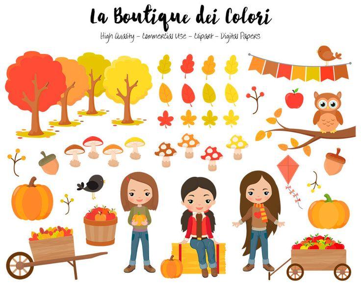 Autumn Harvest Girls Clipart | La Boutique Dei Colori