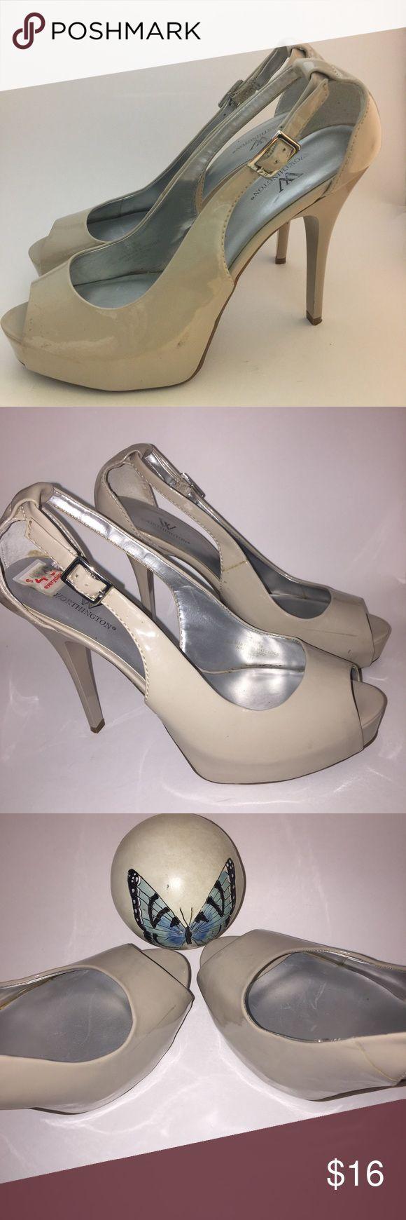 "8.5 M) Worthington Nude Peep Toe Platform Heels 8.5M) 1"" Platform 4"" Heels 👠 Worthington - Well Cared for Pre-Loved Peep Toe High Heels  Please use Zoom Function , in order to inspect Condition , Worthington Shoes Platforms"