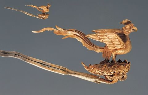 Gilded-silver hairpin in the shape of a phoenix, Liao dynasty. Cultural Relics Store of Chifeng City