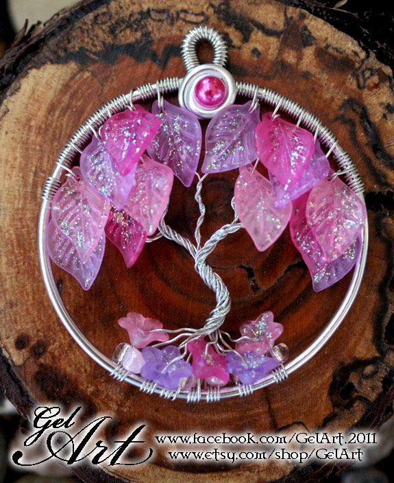 Glitter leaves tree pendant