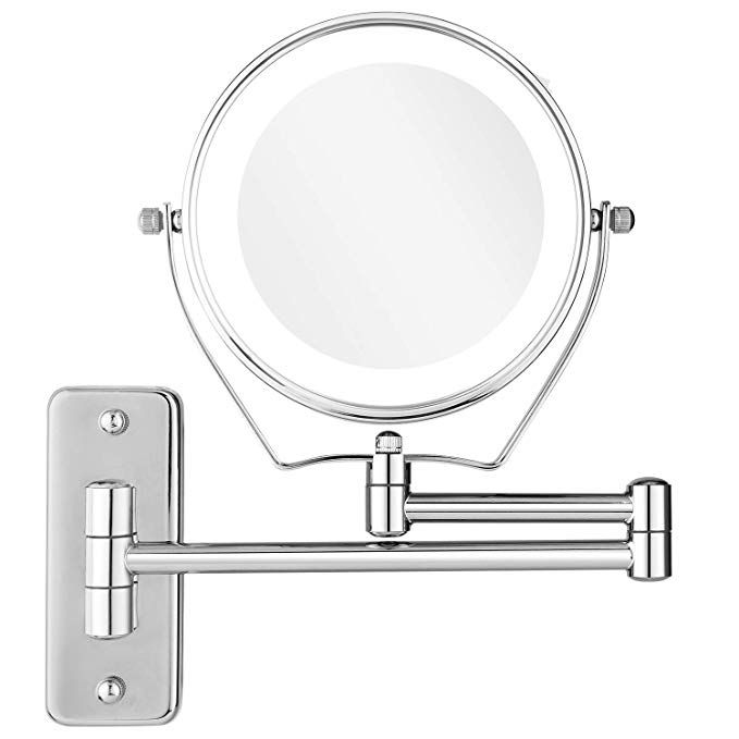 Bazal Lighted Magnifying Makeup Mirror Wall Mounted Cosmetic
