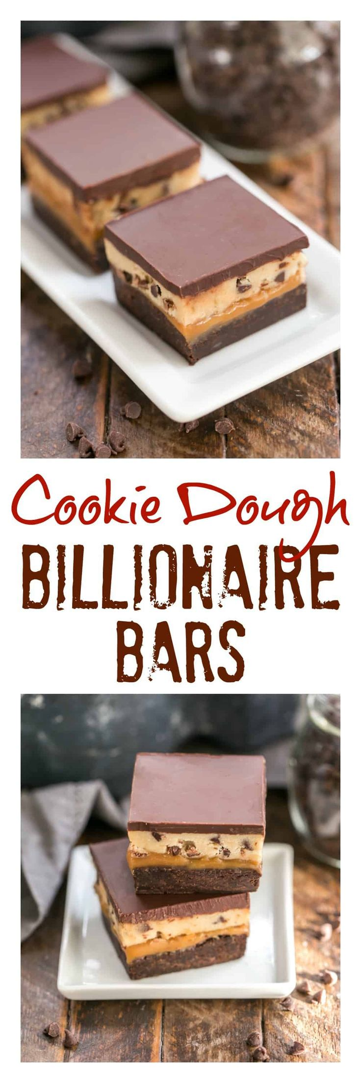 Cookie Dough Billionaire Bars | Layers of brownies, caramel, cookie dough and ganache for an outrageously rich dessert! #chocolate #cookiedough #carameldesserts