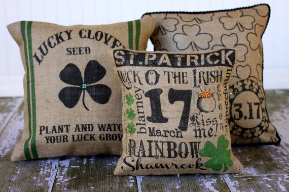 Great St. Patricks Day pillows! These would look so cute on the front porch for St. Patty's day