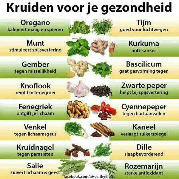 Kruiden voor je gezondheid kijk voor meer tips op onze facebookpagina of op onze website http://www.sportingclubdeuitweg.nl/