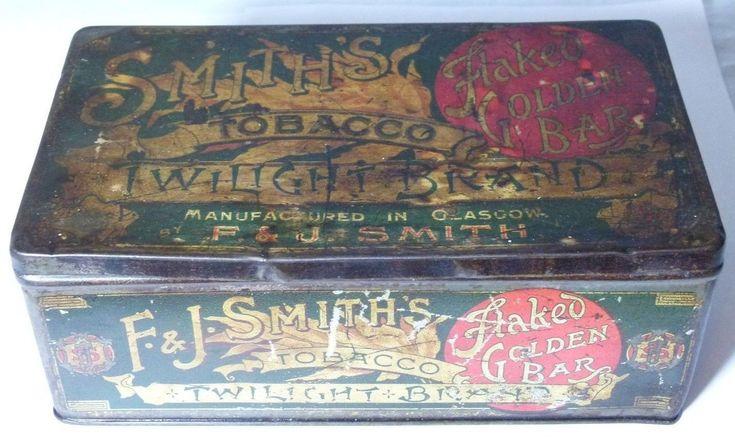 SMITHS TWILIGHT BRAND FLAKED GOLDEN BAR TOBACCO SHOP TIN