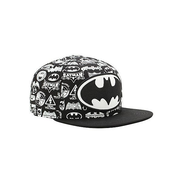 DC Comics Batman Logo Collage Snapback Hat | Hot Topic ($19) ❤ liked on Polyvore featuring accessories, hats, black snapback, snap back hats, black hat, logo hats and snapback hats