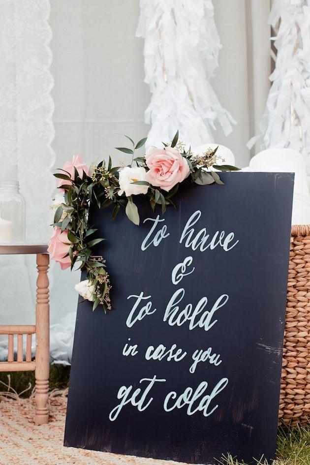 """""""To have and to hold in case you get cold"""" blankets as favors at a winter wedding"""