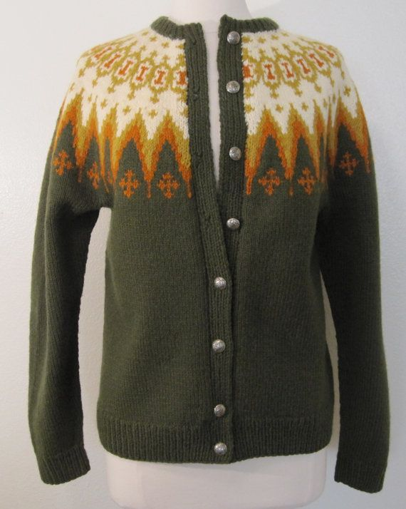 Norwegian Hand Knit Wool Vintage Cardigan Sweater Womans Size Large .