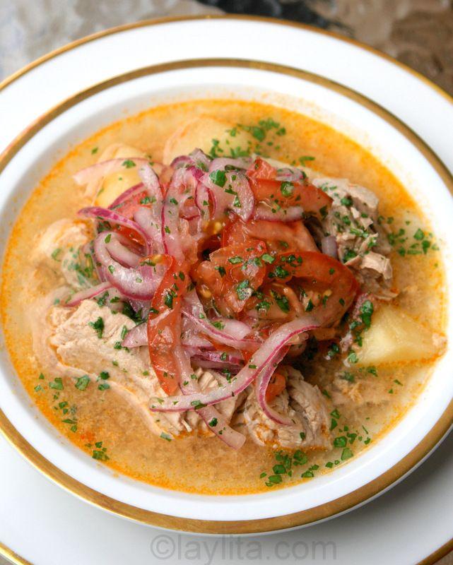 Encebollado de pescado is an Ecuadorian fish soup made with fresh tuna, yuca, tomato, onions, cilantro, cumin, hot pepper and topped with pickled onions.