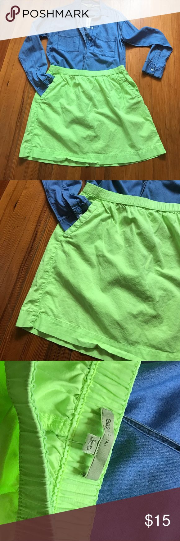 GAP Neon skirt Official color neon sugarcane kiwi. With pockets. The tall size makes it more modest in length. Size large tall.  NEW WITH TAGS!! GAP Skirts