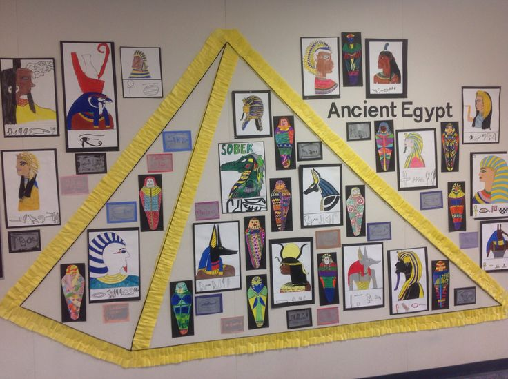 Ancient Egypt Bulletin Board.   Oil profiles, colorful mummies, & hieroglyphs using ink stamping.