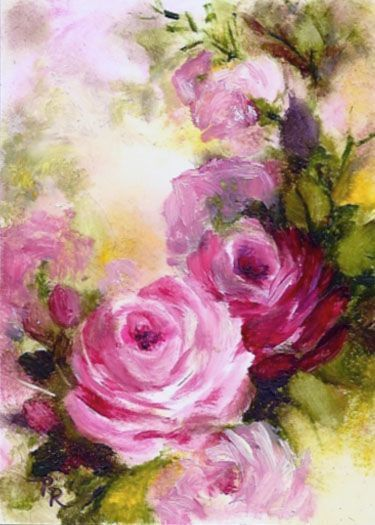 Pink Roses ORIGINAL OIL PAINTING ACEO