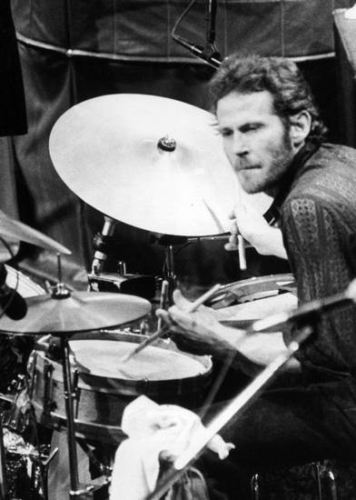 Levon Helm and his drums at The Band's final live performance at Winterland Auditorium in San Francisco, in 1976.