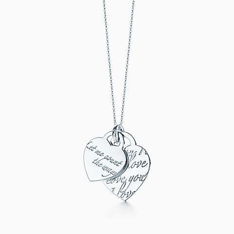 "Tiffany Notes ""Let Me Count The Ways"" heart tag pendant in sterling silver."