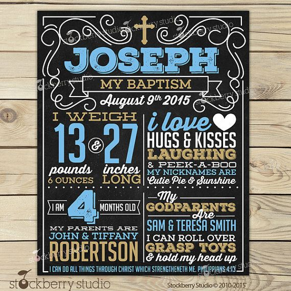 Boy Baptism Chalkboard Poster Blue and Gold Printable  by stockberrystudio