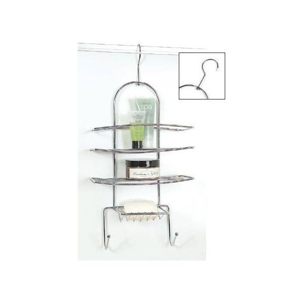 This chrome hook design shower caddy is ideal to either hang over a door or shower wall or it will hang over your shower hose. �It is free draining with lower hooks allowing you to hang your washcloths, back brushes or loofahs. ��