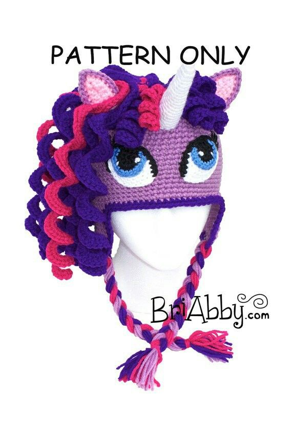 Crochet unicorn pony hat pattern on etsy