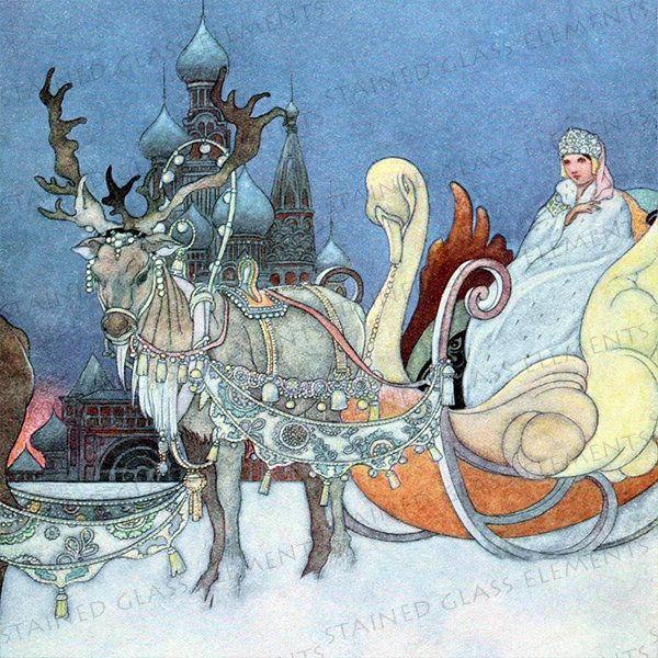 Snow Queen ceramic decal, Russian Princess, russian decals, decals for glass, decals for ceramics, decals for enamelling, fairytale decals door StainedGlassElements op Etsy
