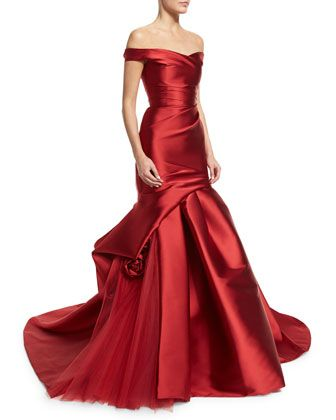 Off-The-Shoulder+Draped+Trumpet+Gown,+Deep+Red+by+Monique+Lhuillier+at+Neiman+Marcus.