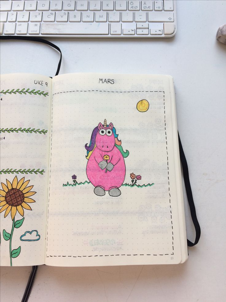 Unicorn Drawing, Bullet Journal