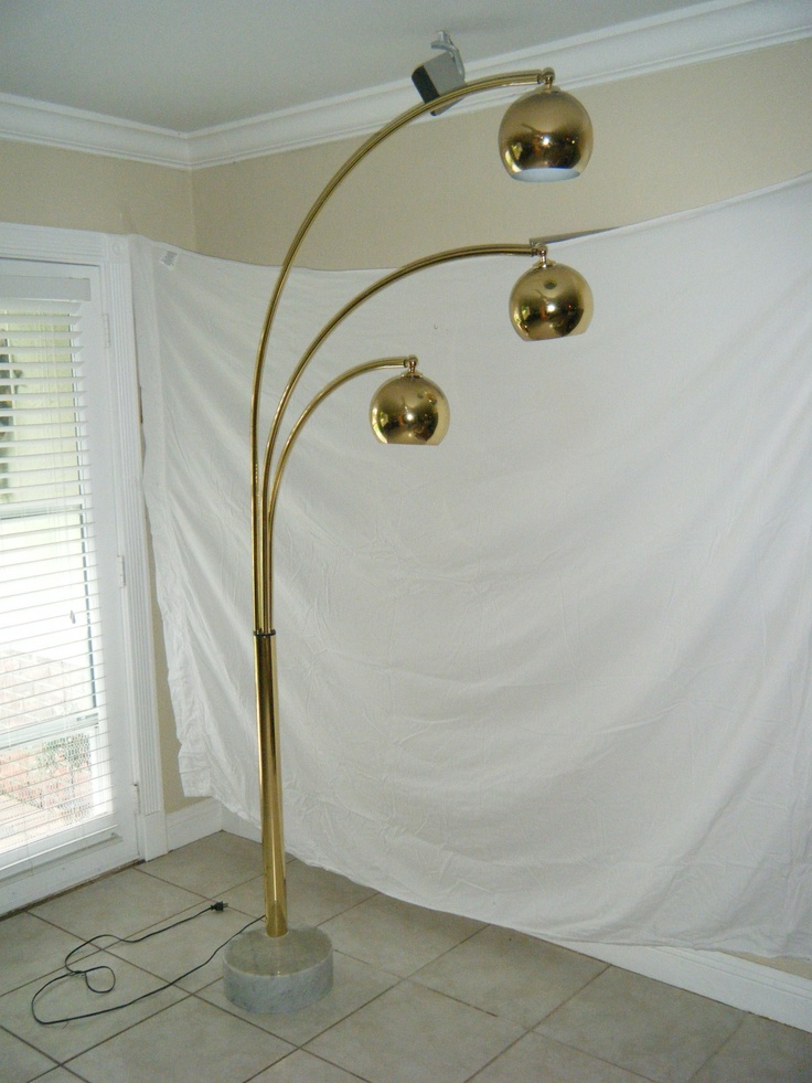 Vintage Mid Century Brass Plated Arc Floor Lamp With 3 Eye Balls Marb