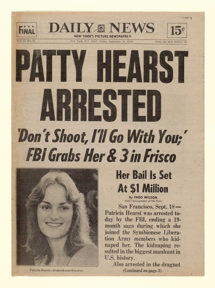 Sept. 18, 1975: The FBI captures newspaper heiress and fugitive Patricia Hearst in San Francisco 19 months after she was kidnapped by the Symbionese Liberation Army (SLA).