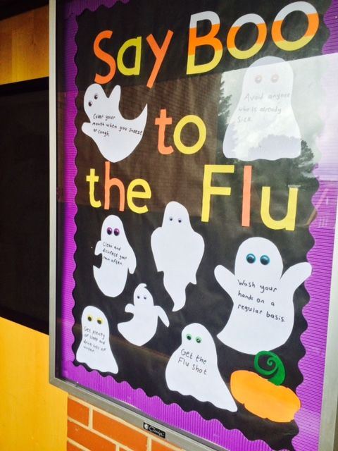 Say Boo to the Flu, RA, Bulletin Board,  October, Resident Assistant, ResLife, Residence Life, Housing, NC State
