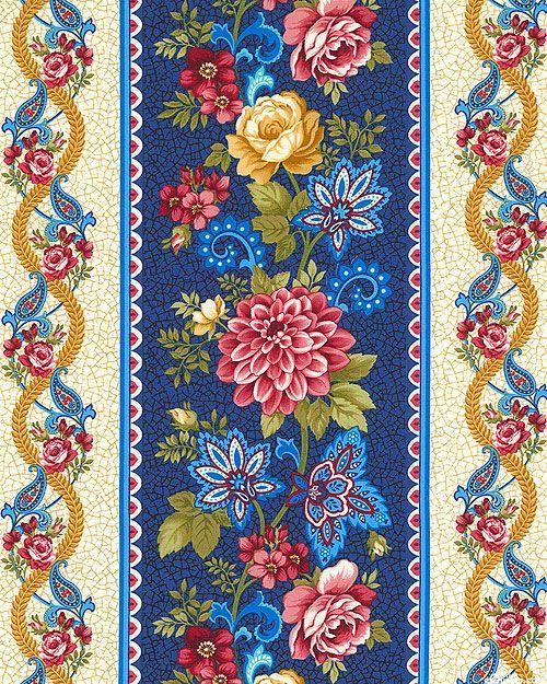 Summer Festival - Paisley & Blossom Stripe - Royal Blue