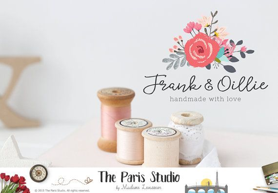 Etsy Shop Logo Custom cover photos shop icons watercolor floral logo hand drawn style logo