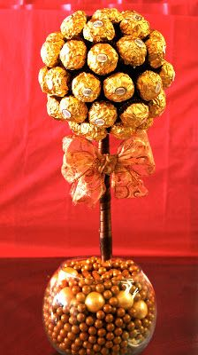 Jackie Sorkin's Fabulously Fun Candy Girls, Candy World, Candy Buffets & Event Industry Bl: Sweet Arrangements You Can Eat! All edible- Ferrero Rocher Chocolate & Gum Ball Topiary- Elegant Candy Centerpieces