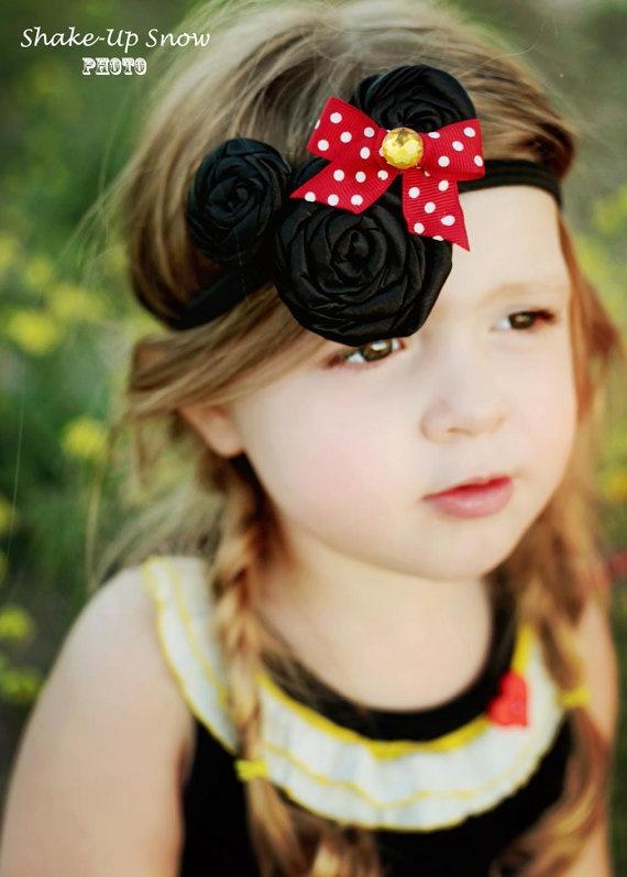 Marvelous Minnie  Satin rosette headband by ShakeUpSnowDesigns
