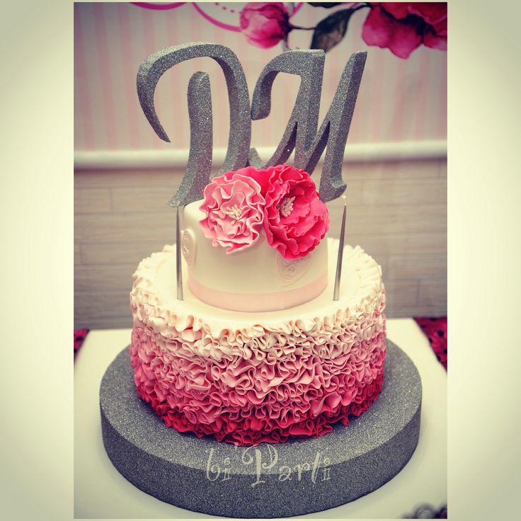 Nişan pastası. Düğün pastası. Engagement cake. Ruffle cake. Pink cake. Wedding cake.