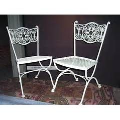 ... Midcentury Modern Outdoor Wrought Iron Woodard Andalusian Patio Chairs