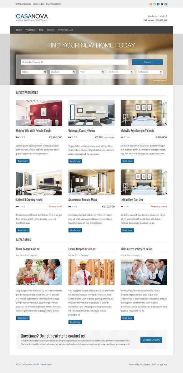 Casanova, WordPress Responsive Real Estate Theme