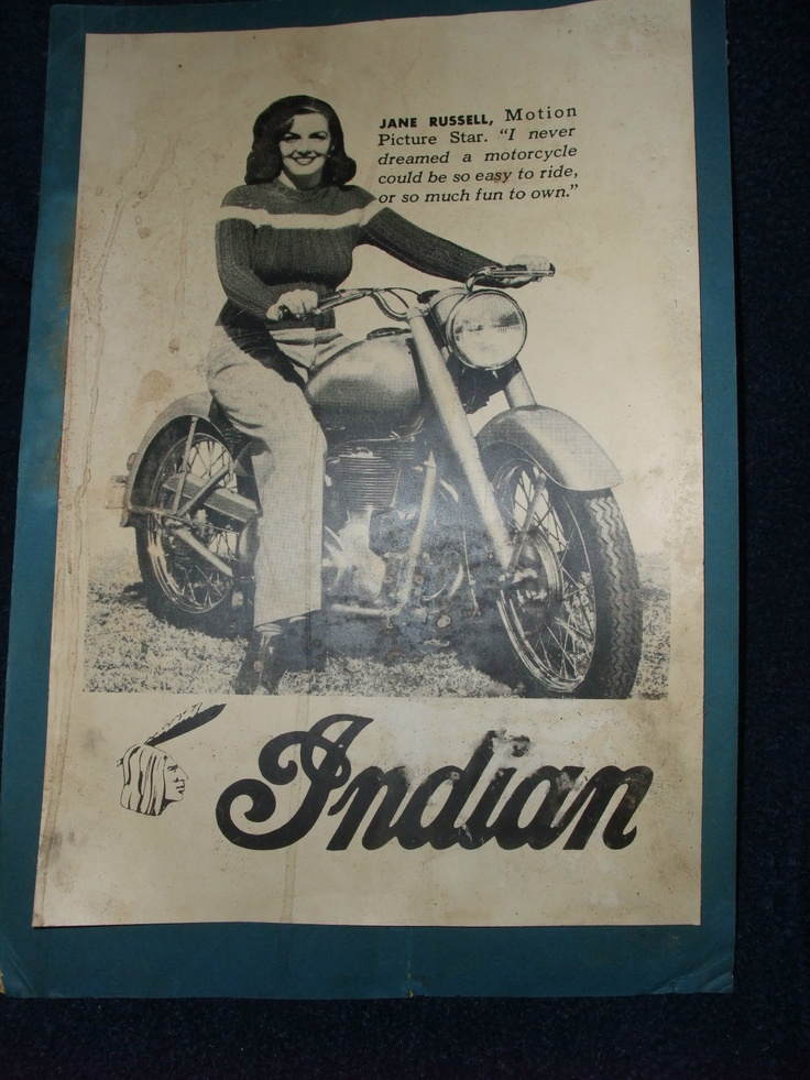 Jane Russell Indian Motorcycle Arrow Scout Warrior Poster
