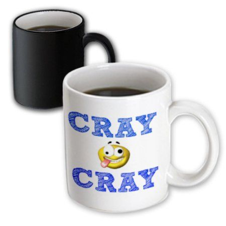 3dRose cray cray, blue letters on white background with funny face picture, Magic Transforming Mug, 11oz