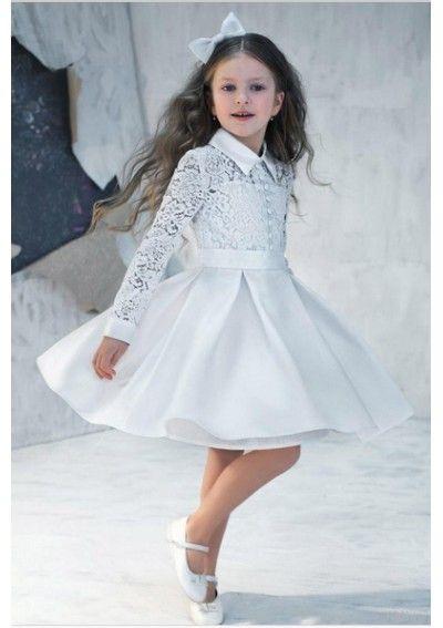 Wedding dress online shop - 2015 Vintage Cute Flower Girls' Dresses Long Sleeve Lace High Neck Satin Knee Length Girls Formal Dress