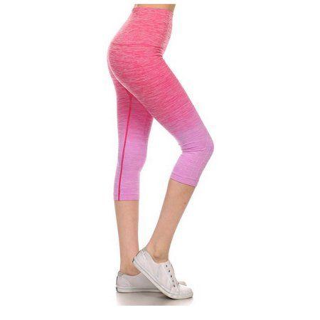 26c77549fb Women s Capri Leggings High Waist Compressed Tummy Control Gym Yoga Pants  Fuchsia Medium - Walmart.com