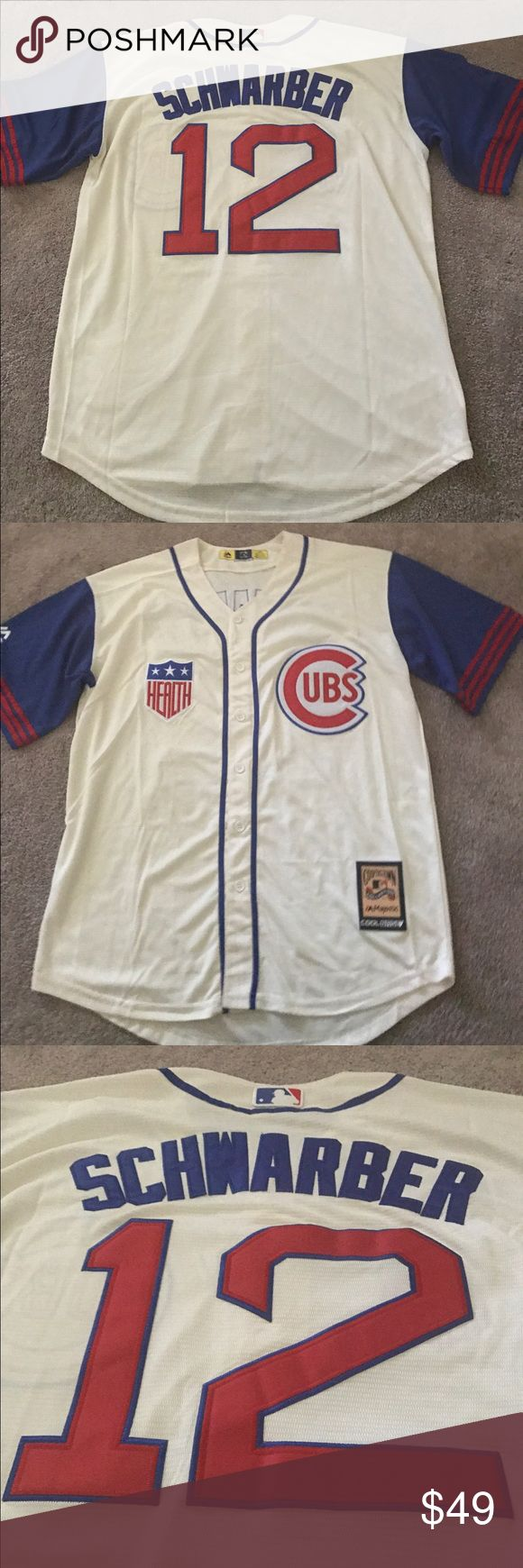 Kyle Schwarber Cubs 1942 Throwback jersey (L) Chicago Cubs Kyle Schwarber 1942 Throwback jersey. Brand new with tags, fully embroidered Majestic Athletic Cooperstown Collection jersey. Please check my other listings for more Cubs merchandise! Many more styles/sizes available for men, women and kids! Majestic Shirts Casual Button Down Shirts