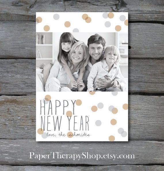 Heureuse nouvelle année photocarte avec par PaperTherapyShop, $15.00