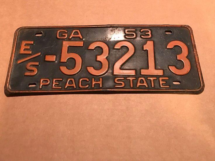 1953 ga license plate tag es53213 license
